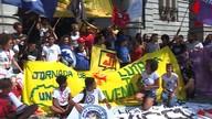 Estudantes fazem protesto pedindo transporte coletivo de graça em Belo Horizonte