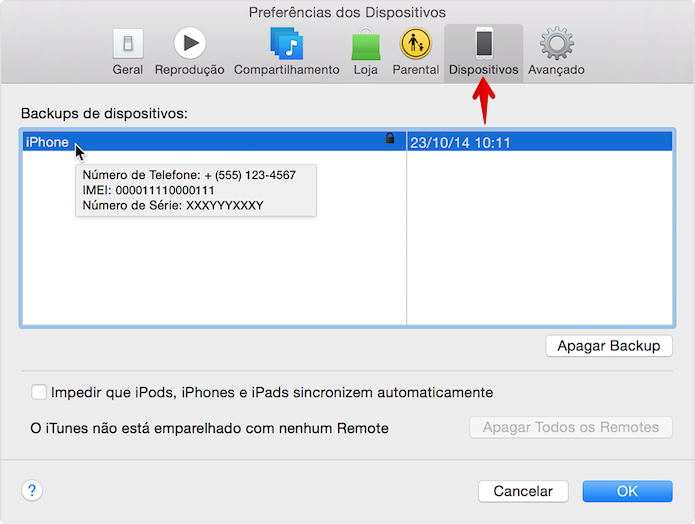 Acessando número de série em um backup do iTunes (Foto: Reprodução/Helito Bijora)