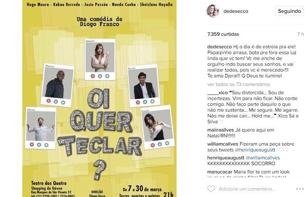 Deborah Secco fala sobre estreia do marido em peça (Foto: Reprodução/Instagram)