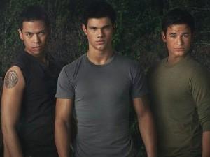 O ator Bronson Pelletier aparece ao lado direito de Taylor Lautner em cartaz de 'Lua Nova' (2009) (Foto: Divulgação)