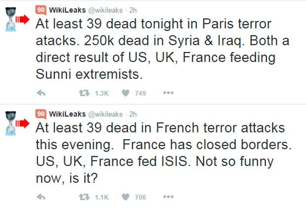 WikiLeaks afirma que França alimentou Estado Islâmico em sua conta no Twitter (Foto: Reprodução/Twitter/@wikileaks)
