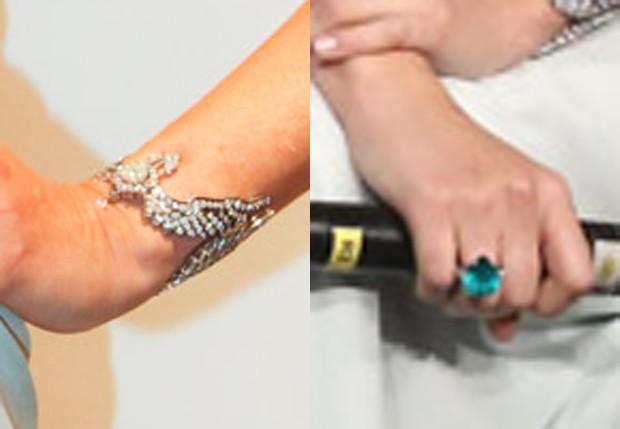 Detalhe do anel e pulseira usados por Ana Beatriz Barros (Foto: Manuela Scarpa/Foto Rio News)
