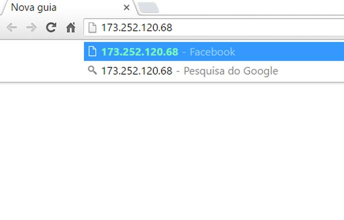 Use o número de IP referente ao site do Facebook para tentar acessar (Foto: Reprodução/Filipe Garrrett)