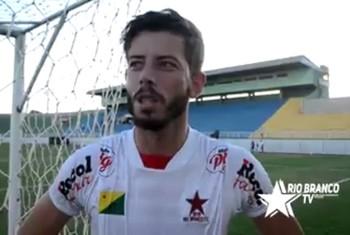 Valério Germano, atacante do Rio Branco-AC (Foto: Reprodução/Rio Branco TV)