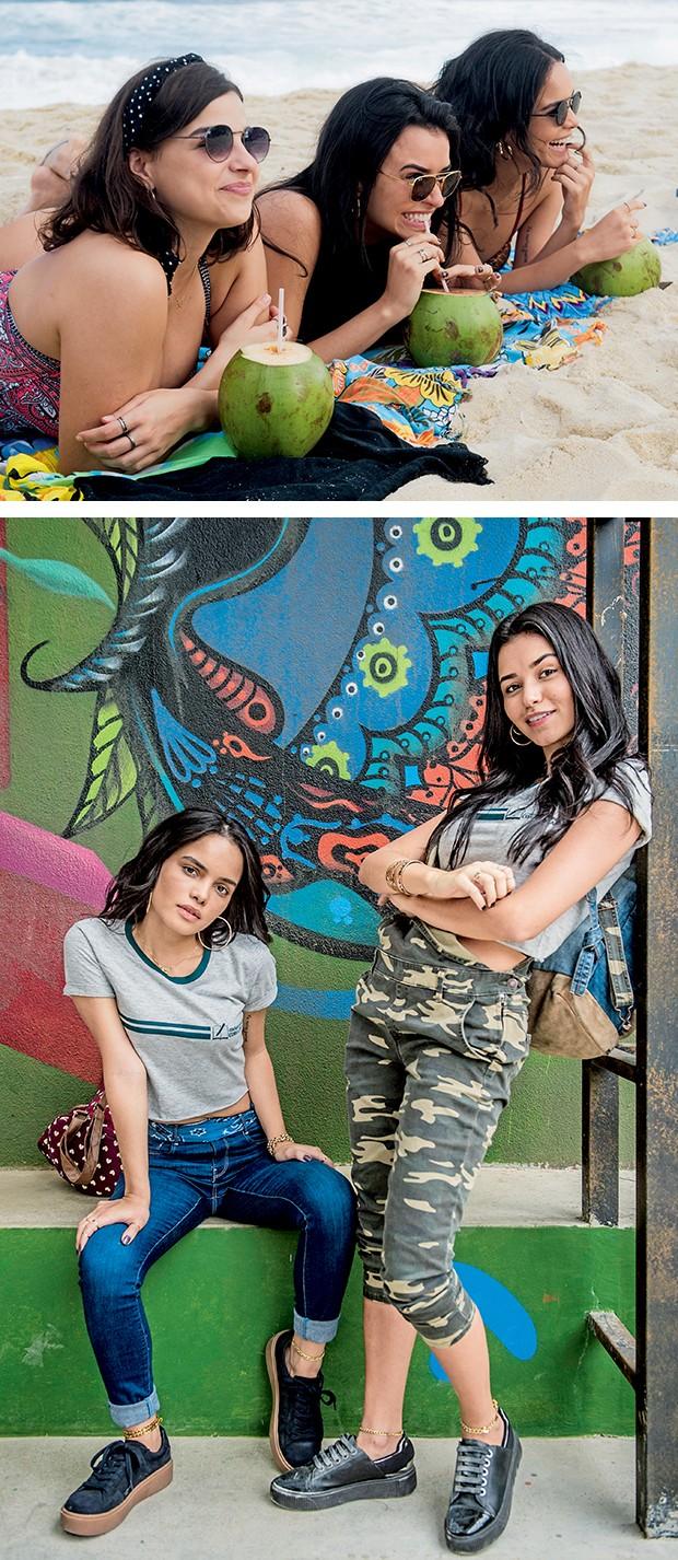 No alto, Gabriela  Medvedovski, Talita e  Carol Macedo em uma  cena de Malhação; acima, com Carol Macedo  (Foto:  )