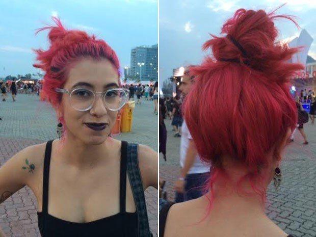 A estudante Tainá LIma conta que o cabelo rosa chama bastante a atenção e recebe vários elogios. (Foto: Cristina Boeckel/G1)