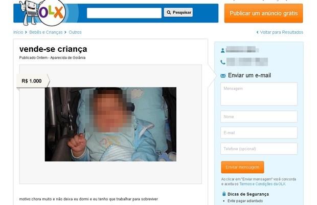 Anunciante ofereceu criança em site e diz que ela 'chora muito' (Foto: Reprodução)