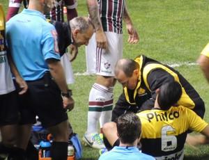 Marlon lateral-esquerdo lateral Criciúma lesão (Foto: João Lucas Cardoso)