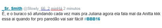 Comentário 4 Anitta Juliana BBB16 (Foto: Reprodução Internet)
