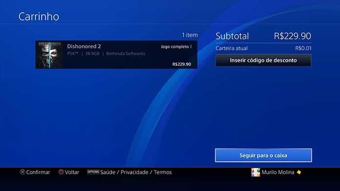 Finalize o pagamento do Dishonored 2 (Foto: Reprodução/Murilo Molina)