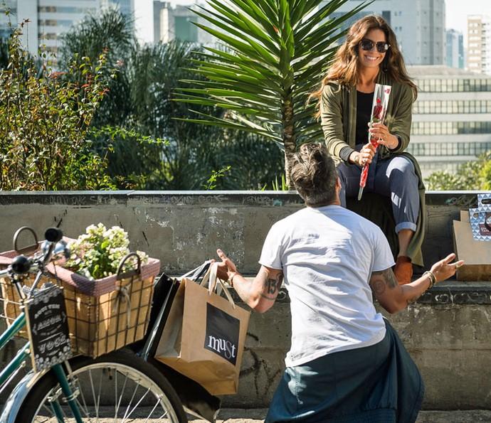 GIovanna Antonelli e Bruno Gagliasso durante gravação da novela (Foto: Sergio Zallis/Globo)
