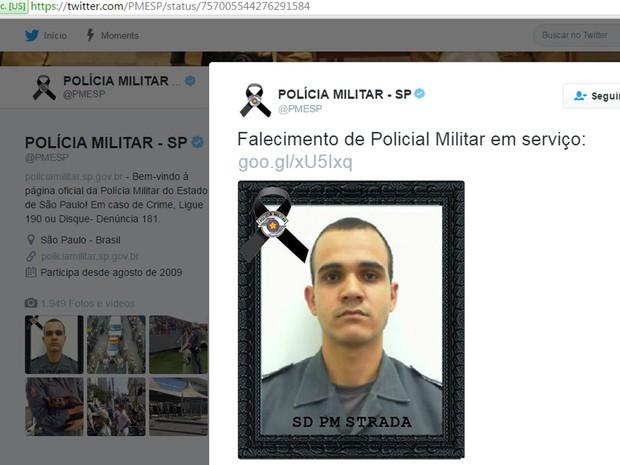 Policial militar Henrique Strada Janurário foi morto em abordagem a rapazes em moto roubada (Foto: Reprodução/Twitter da Polícia Militar de São Paulo)