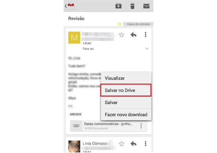 Salvando o anexo do e-mail direto no Google Drive (Foto: Reprodução/Lívia Dâmaso)