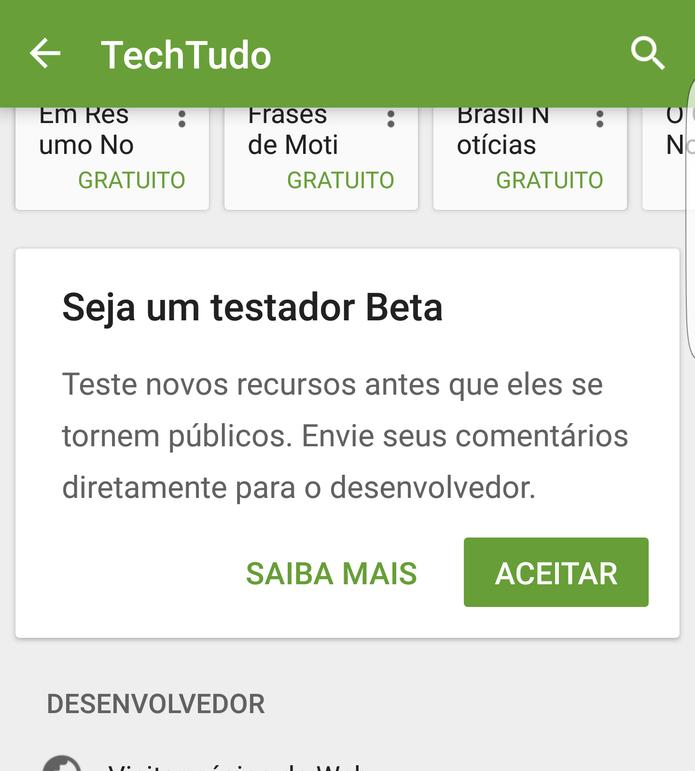 Internauta deve acessar a página do TechTudo na Google Play Store e ativar a versão beta (Foto: Reprodução/TechTudo)