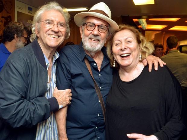 Juca de Oliveira, Paulo José e Aracy Balabanian em teatro na Zona Sul do Rio (Foto: Cristina Granato/ Divulgação)