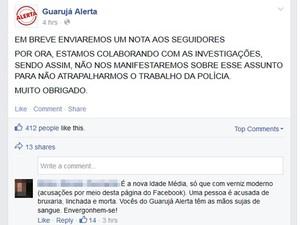 Internautas criticaram administrador de página Guarujá Alerta (Foto: Reprodução / Facebook)