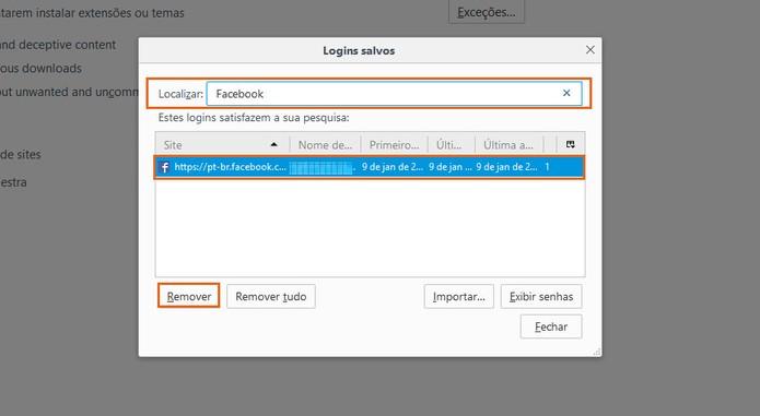 Encontre sua conta do Facebook salva no Firefox (Foto: Reprodução/Barbara Mannara)