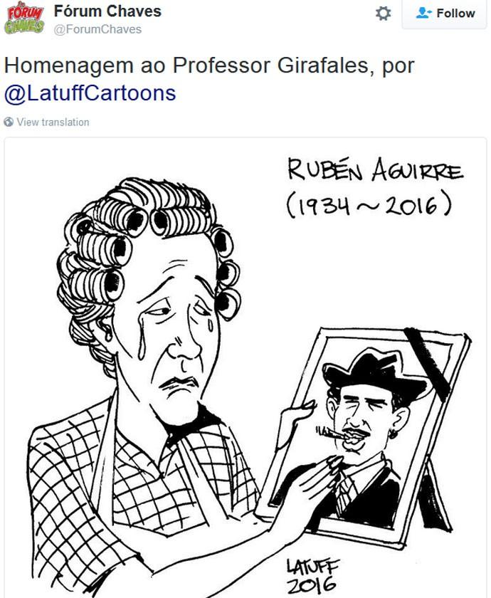 O ator mexicano Rubén Aguirre Fuentes, conhecido por interpretar o Professor Girafales em 'Chaves'