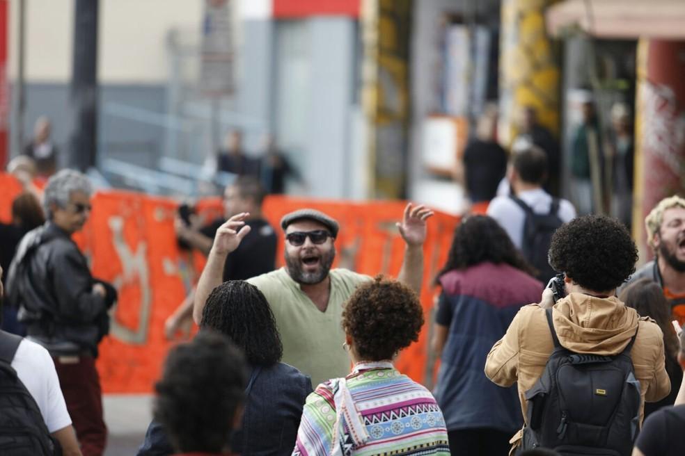 Protesto na Cracolândia (Foto: Marcelo Brandt/G1)