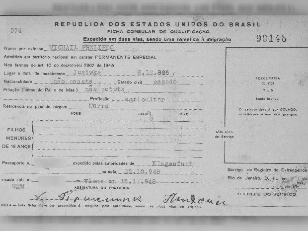 Documento de Michail Prelipko (Foto: Arquivo Nacional do Rio de Janeiro)