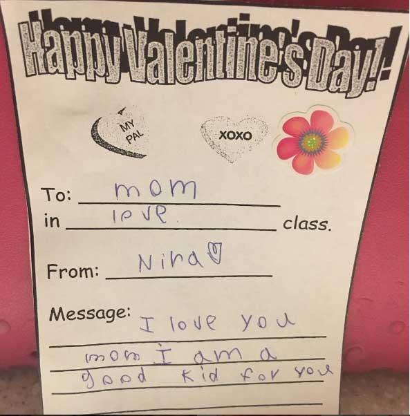 Bilhete de Valentines escrito pela filha (Foto: Reprodução - Instagram)