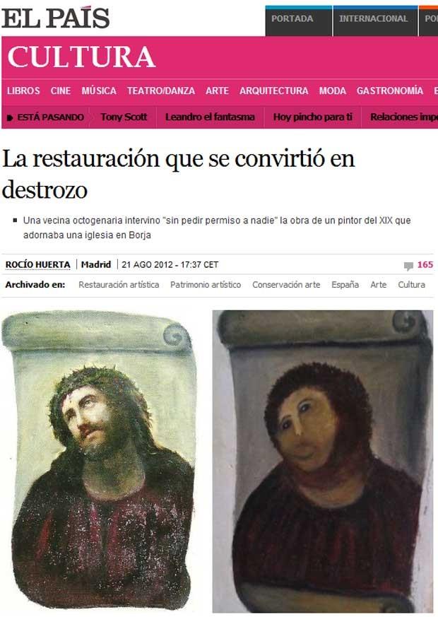 A obra de Elías García Martínez antes e depois da 'restauração' (Foto: Reprodução)