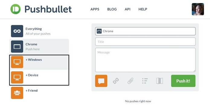 Destaque para botões Windows e + Device no Pushbullet (Foto: Reprodução/Raquel Freire)