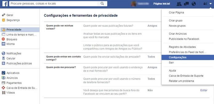 Edite as configurações de privacidade na rede social (Foto: Reprodução/Gabrielle Lancellotti)