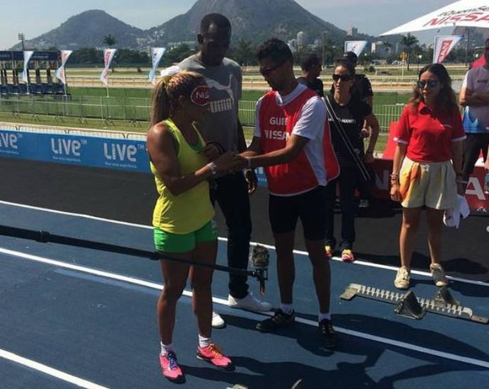 Terezinha Guilhermina correu ao lado de Usain Bolt neste sábado (Foto: Reprodução/Instagram)