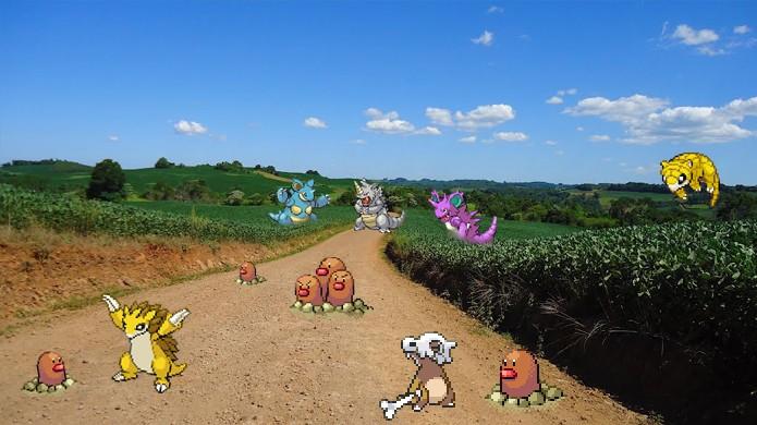 Pokémons de Solo gostam de aparecer em estradas de terra em Pokémon Go (Foto: Reprodução/Rafael Monteiro)