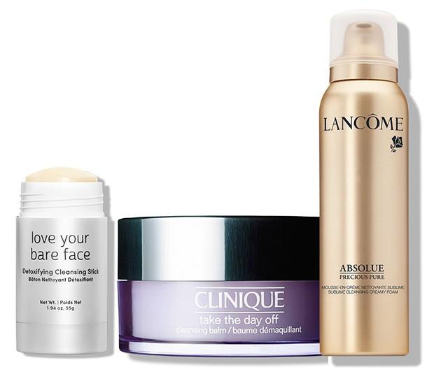 Love Your Bare Face Detoxifying Cleansing Stick, Julep*. Take The Day Off Cleansing Balm, Clinique, R$ 179. Espuma de Limpeza Absolue Precious Cells, Lancôme, R$ 400  (Foto: Reprodução)