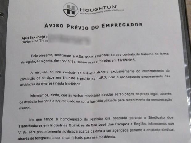 Em carta, empresa diz que serviços com a Ford foram encerrados (Foto: Arquivo Pessoal)