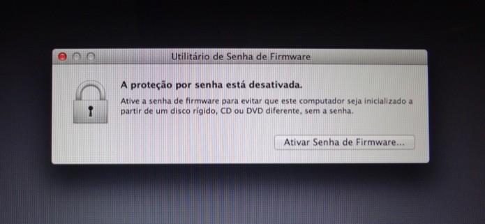Configurando senha de firmware do Mac (Foto: Reprodução/Helito Bijora)