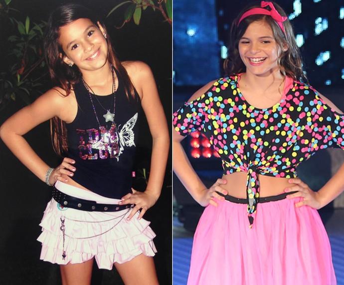 Bruna Marquezine quando era mais nova e Luana no 'Dancinha' (Foto: Arquivo Pessoal e Carol Caminha / Gshow)