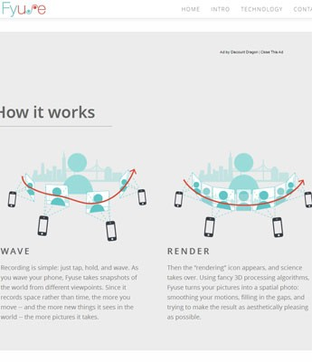 Imagem explica uso do Fyuse: basta dar a volta no objeto capturando imagens e depois o software renderiza a foto dando a impressão da imagem ser em 3D