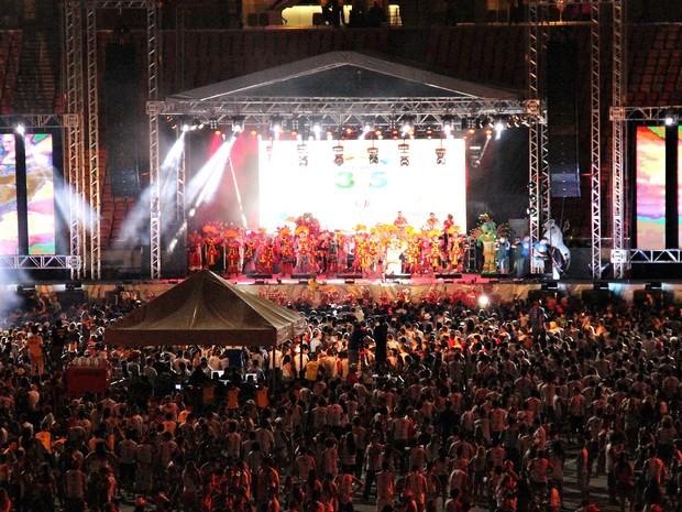 Pelo menos 16 mil pessoas fizeram a festa na Arena da Amazônia, segundo a organização (Foto: Marcos Dantas/G1 AM)
