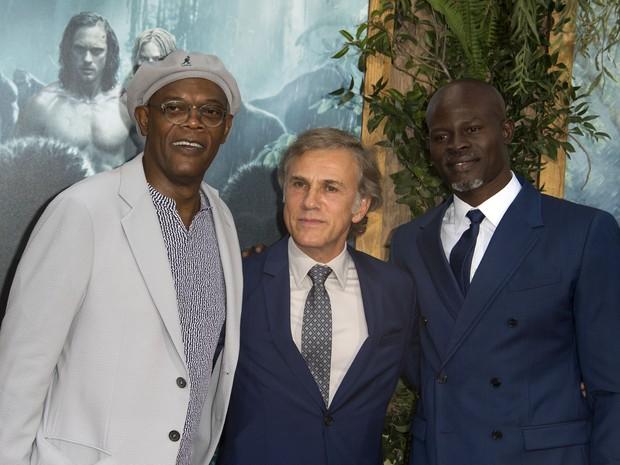 Samuel L. Jackson, Christoph Waltz e Djimon Hounsou em première em Los Angeles, nos Estados Unidos (Foto: Valerie Macon/ AFP)