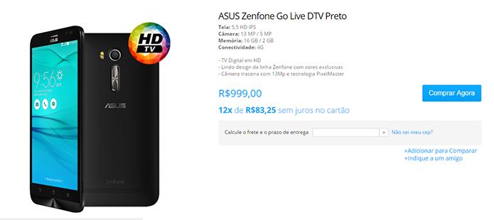Asus começa a vender novo Zenfone com TV digital por R$ 999 (Foto: Reprodução/Asus)