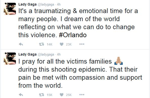 Lady Gaga comenta, no Twitter, atentado em Orlando (Foto: Reprodução/Twitter)