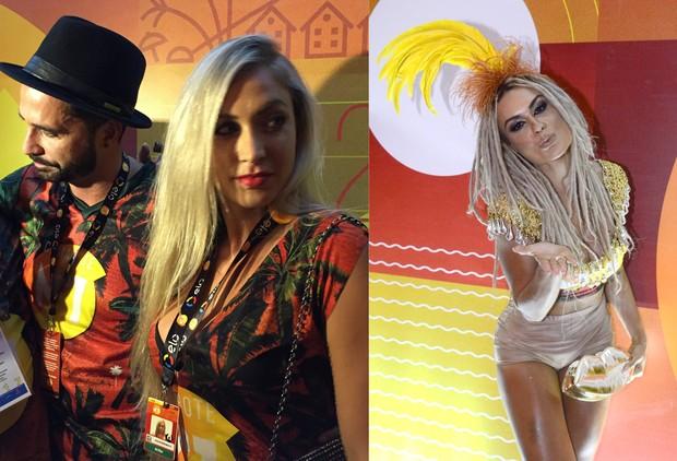 Latino chega com loira a camarote em que está Mendigata (Foto: Priscila Bessa / EGO e Divulgação N1)