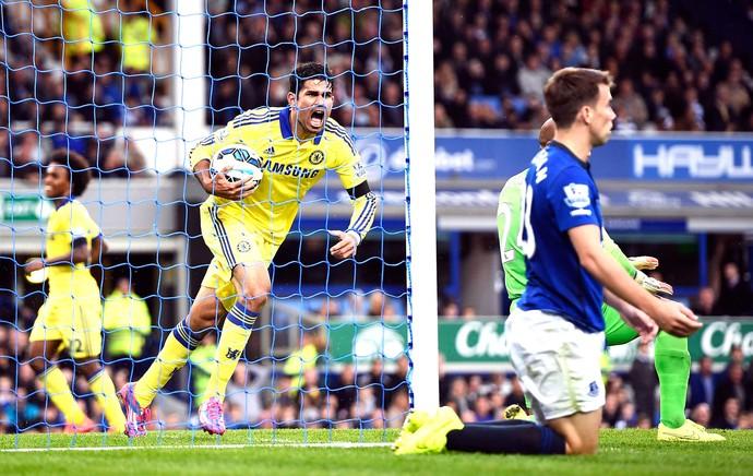 Diego Costa comemora gol Chelsea x Everton (Foto: Reuters)