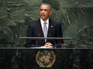 O presidente dos EUA, Barack Obama, faz seu discurso na Assembleia Geral da ONU desta quarta-feira (24) (Foto: Jewel Samad/AFP)