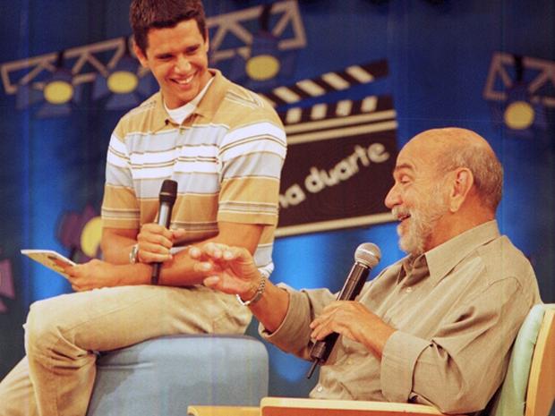 Lima Duarte conversa com Mrcio Garcia e os pequenos (Foto: Reproduo TV Globo)