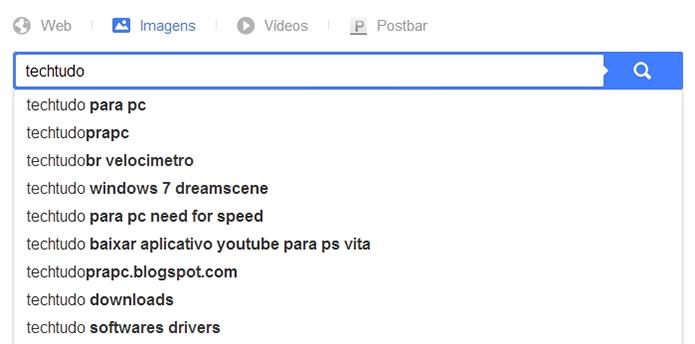 Há também sugestão de palavras-chave similar à do Google (Foto: Reprodução/Paulo Alves)
