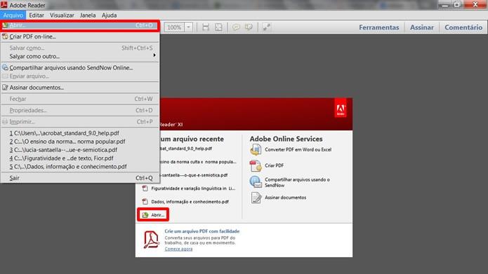Abra arquivos em PDF clicando os comandos em destaque ou aperte simultaneamente as teclas Ctrl e o  (Foto: Reprodução/Daniel Ribeiro)