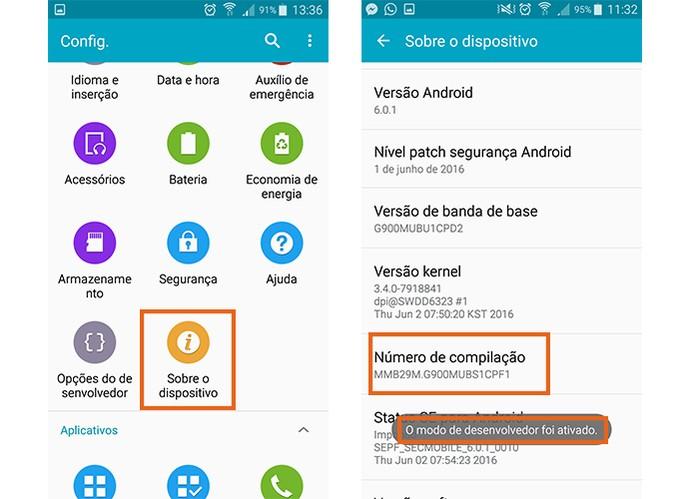 Acesse as informações sobre o dispositivo e ative o modo desenvolvedor no Android (Foto: Reprodução/Barbara Mannara)