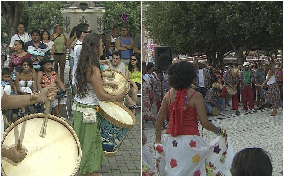 Tambor de criola e Boi de terreiro foram algumas das manifestações da mostra cultural, no AM (Foto: Bom dia Amazônia)