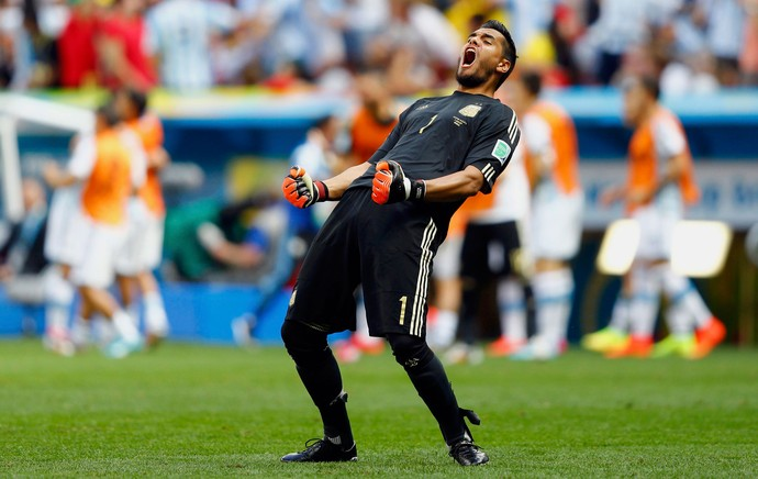 Romero Argentina comemoração gol Bélgica Mané Garrincha (Foto: Agência Reuters)