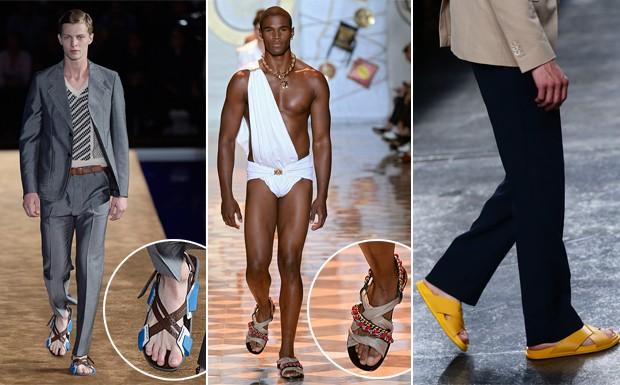 Prada, Versace e Fendi lanam suas verses da sandlia masculina. (Foto: Getty Images)