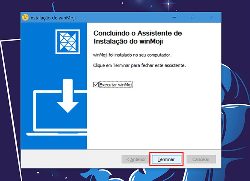 WinMoji pode ser aberto logo após a conclusão da instalação (Foto: Reprodução/Elson de Souza)